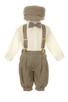 Vintage Dress Suit-Bowtie,Suspenders,Knickers Outfit Set for Baby Boys & Toddler, Brown Plaid 18M SK,http://www.amazon.com/dp/B00DF3K9Y6/ref=cm_sw_r_pi_dp_GjDktb0SWEY3R23T