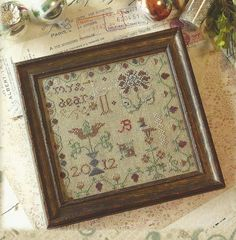 Primitive Folk Art Cross Stitch Leaf Project by PrimFolkArtShop, $16.00