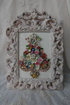 Vintage Jewelry Framed Christmas Tree ♥ Roses Crystals Glass Birds ♥ Floral Glam | eBay