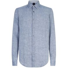 Boss Linen Chambray Shirt (9.595 RUB) ❤ liked on Polyvore featuring men's fashion, men's clothing, men's shirts, men's casual shirts, mens casual linen shirts, mens chambray shirt, mens button shirts, mens casual button down shirts and mens linen button down shirt