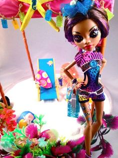 "OOAK Monster High Clawdeen Wolf ""Cool Beach"" Doll Outfit Accessories 