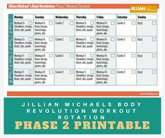 Jillian Michaels Workout Rotation Printable Checklist - Body Revolution Phase 2 - The Best of Life® Magazine Daily Workout Schedule, Sunday Workout, Six Pack Abs Workout, Workout Dvds, Dumbbell Workout, Workout Videos, Workout Challenge, Whole Body Workouts, Fun Workouts