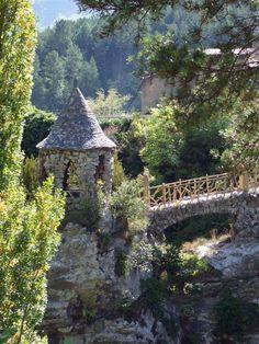 Stone gazebo and foot bridge