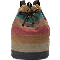 Men Women Stripe Canvas Backpack Casual Drawstring Rucksack Students School Bags Satchel