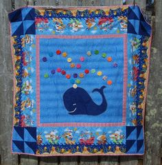 YoYo whale quilt by IslandQuilts on Etsy, $175.00