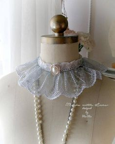Items similar to Kawaii Choker Necklace ,Kitten Pet Play Collar Gear ,DDLG Mint Green White Pleated Pink Bow Faux Fur Ball Bunny Tail ,Jewelry pastel Cute on Etsy Ruff Collar, Lace Collar, Shabby, Victorian, Pearls, Gray, Trending Outfits, Unique Jewelry, Handmade Gifts