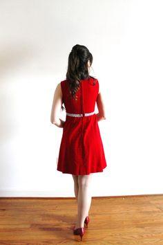 233102da9 1960s Mini Dress / 60s Dress / 1960s Red Velveteen Silver Metallic Christmas  Party Dress