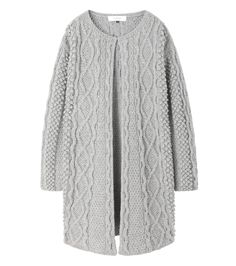 ケーブルニットコート-10 ¥52,920 WO80 NY20 着丈86cm 肩巾49cm 身巾53cm 天巾22cm 袖丈53cm Knitwear Fashion, Knit Fashion, Sweater Fashion, Knit Jacket, Knit Cardigan, Aran Sweaters, Chunky Crochet, Knitting Wool, Sweater Design