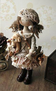 Купить Иделия. Коллекционная кукла в бежево-кофейных тонах. Бохо стиль - бежевый, коллекционная кукла ♡