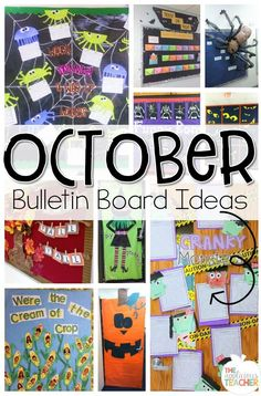 Love these fun bulletin boards and door ideas! Perfect to bring in Fall! Here's a collection of PERFECT for the classroom bulletin boards and door decorations to keep up for the month of October. November Bulletin Boards, Thanksgiving Bulletin Boards, College Bulletin Boards, Kindergarten Bulletin Boards, Halloween Bulletin Boards, Christmas Bulletin Boards, Interactive Bulletin Boards, Bulletin Board Design, Winter Bulletin Boards