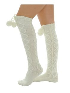 Beautiful Over the Knee Ivory Cable Knit Socks with Pom Poms ties Diamond Twist MeMoi Fashion,http://www.amazon.com/dp/B00AJ2X16Y/ref=cm_sw_r_pi_dp_0Qvfsb0PGYK6P08T