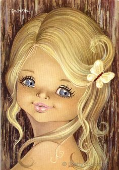 Vintage postcard from the 70s, Big Eyed Girl