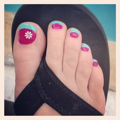 Summer pedicure :) For manicure and pedicure services, call Happy Nails and Spa at 2070 Harvey ave Kelowna Pedicure Designs, Toe Nail Designs, Nail Polish Designs, Pedicure Ideas, Flower Pedicure, Pedicure Summer, Summer Nails, Sexy Nails, Love Nails