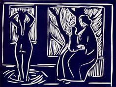 Three generations, linocut, Kai Fjell Wood Engraving, Linocut Prints, Expressionism, Printmaking, Kai, Carving, Paintings, Artists, Fine Art