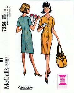 Vintage Sewing Pattern - 1964 Misses Dress, McCall's 7254 Size 10 Bust 31