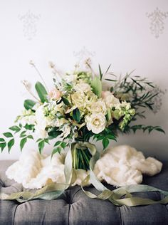 Hand-tied bridal bouquet | Noi Tran Photography | see more on: http://burnettsboards.com/2015/01/romantic-winter-styled-shoot/