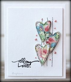 Hearts by Biggan/Birgit - Cards and Paper Crafts at Splitcoaststampers … Stamps: Technique Tuesday … Paper: Paper Accents, Prima … Accessories: Halfpearls Fabric Cards, Paper Cards, Paper Paper, Fabric Postcards, Step Card, Tarjetas Diy, Heart Cards, Valentine Day Cards, Homemade Valentine Cards