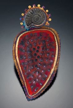 Julie Shaw--brooch (11-395)  enamel, sterling silver, 22k gold, ammonite