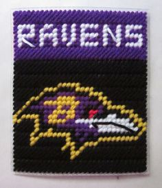 Baltimore Ravens tissue box cover in plastic canvas PATTERN ONLY. $2.00, via Etsy.