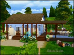 Heron House is like a cabin in the woods. Main room kitchen, dining, PC, TV are Sims 4 House Building, Sims House Plans, Sims 4 House Design, The Sims 4 Lots, Casas The Sims 4, Sims 4 Build, Cabins In The Woods, Pool Designs, Outdoor Structures