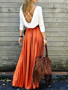 Orange Back Plunging V Spliced Criss-Cross Maxi Dress