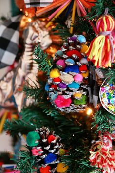 Aleene's Original Glues - Glittered PomPom Pinecone Ornaments Mexican Christmas Decorations, Diy Christmas Lights, Little Christmas Trees, Colorful Christmas Tree, Merry Little Christmas, Christmas Love, Xmas Decorations, Winter Christmas, Vintage Christmas