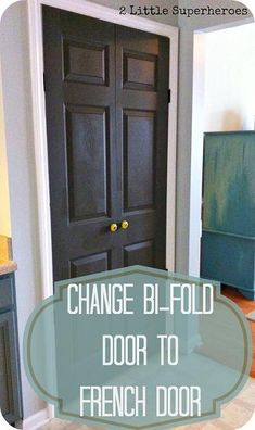 DIY:  How To Change Bi-Fold Doors into French Doors by Changing the Hardware  - excellent tutorial shows how to attach the new hardware - via 2 Little Superheroes