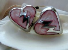 Mother of Pearl, lightning bolt & hearts come together to make these Sterling Silver Earrings  EverythingIOwn http://etsy.me/103rra6 @Etsy