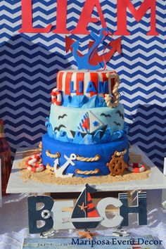 Mariposa Event Decor 's Birthday / Nautical - Photo Gallery at Catch My Party Anchor Birthday, Sailor Birthday, Sailor Party, Baby Birthday, Kids Birthday Themes, 1st Birthday Parties, Birthday Party Decorations, Nautical Cake, Nautical Party