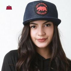 """This trendy snapback cap features """"California Republic"""" rubber patch denim fabrication six-panel design and flat bill. Get it now: http://ift.tt/2b7H6qr  #Accessoryhut #caps #hiphop #hip #instafashion#fashionable #flatshoes #authenticbags #luxurybags #fashionblog #streetfashion #highheelshoes #ToteBags #handbagseller #goodiebags #womanbags #fashiondiaries #nikeshoes #FashionAddict #YouCanNeverHaveTooMany"""