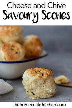 This is the best savoury scone recipe you'll need. Cheese and chive scones are an absolute hit for a pot luck, afternoon tea party, brunch or as side dish for a cozy soup. Homemade, scones hot out of Best Savory Scone Recipe, Savory Scones, Afternoon Tea Recipes, Afternoon Tea Parties, Afternoon Tea Scones, Best Afternoon Tea, Tea Party Desserts, Tea Party Menu, Cheese And Chive Scones