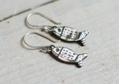 solid Silver Earring, small fish, minimalist, discreet, feminine, silver engraved