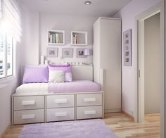 Finding the Most Popular and Cool Teenage Room Designs Nowadays : Enchanting Purple Girls Bedroom Ideas Furniture Deluxe Teenage Bedroom Furniture Design With Drawers Under Bed And Cute Purple Mat And Cool White Shelves Girls Bedroom Colors, Girl Bedroom Designs, Bedroom Themes, Home Decor Bedroom, Bedroom Ideas, Modern Bedroom, Kids Bedroom, Paris Bedroom, Stylish Bedroom