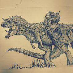 """Done.  Carnotaurus from #disney # dinosaur .(Emma) carnotaurus a mouth full of teeth with a bad attitude!. """