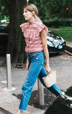 Ruffle Top + Cropped Jeans