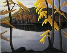 "Canadian artist Lawren Harris - ""Northern Lake,"" Canadian Group of Seven Tom Thomson, Emily Carr, Group Of Seven Artists, Group Of Seven Paintings, Canadian Painters, Canadian Artists, Landscape Art, Landscape Paintings, Winter Landscape"