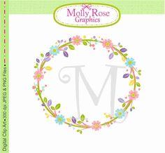 flowers Wreath Clip Art Vector clip art by mollyrosegraphics