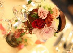 シェ松尾様青山サロン様の装花 小箱に花を