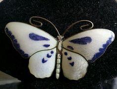 Norway Sterling Purple & White Guilloche Enamel Butterfly Pin Brooch