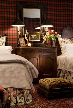 An English Gentleman's guest bedroom features wool tartan plaid upholstered walls, antique French iron headboards and an antique oriental rug. ~ a bit dark, but like the idea of a tartan accent wall. World Of Interiors, Farmhouse Bedroom Decor, Cozy Bedroom, Winter Bedroom, Plaid Bedroom, Bedroom Ideas, Floral Bedroom, Bedroom Red, Iron Headboard