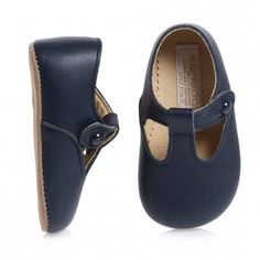 Navy Blue Leather Pre-Walker T-Bar Shoes - Shoes | Childrensalon