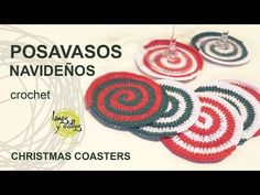 Christmas Coasters Spiral Christmas Coasters Tutorial : www.lanasyovillos … Tutorial on how to make some very original spiral-shaped glasses crocheted in Christmas colors. Christmas Colors, Christmas Crafts, Christmas Coasters, Spiral Shape, Christmas Crochet Patterns, Crochet Videos, Handicraft, Free Crochet, Crochet Earrings