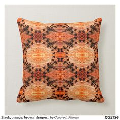 Black, orange, brown dragonfly pattern solid back Orange Pillows, Orange Brown, Black Decor, Custom Pillows, Keep It Cleaner, Your Design, Fall Decor, Throw Pillows, Make It Yourself