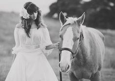 Spanish wedding, off-the-shoulder wedding dress, horse