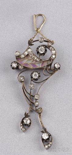 Art Nouveau Plique-a-Jour Enamel and Diamond Pendant
