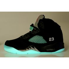 Women's Air Jordan 5 Glow in the Dark Black Grey ($68) ❤ liked on Polyvore featuring shoes, glow in the dark shoes, grey shoes, kohl shoes, gray shoes and black shoes