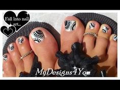 BLACK AND WHITE TOENAIL DESIGN #TUTORIAL Learn how to create this by #mydesigns4you #pedicure #nailart - bellashoot.com