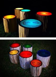 Create outdoor stools from tree trunks then paint them with glow paint, neat!