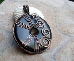 Black Onyx Donut Pendant in Copper by EdisLittleTreasures on Etsy