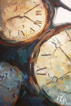 "Mary Worcester Newell Open Edition Giclee on Canvas:""Three Clocks"" - Mary Worcester Newell Watercolor Paintings Nature, Watercolor Art Diy, Clock Painting, Clock Art, Clocks, Steampunk, Gcse Art Sketchbook, Decoupage, A Level Art"